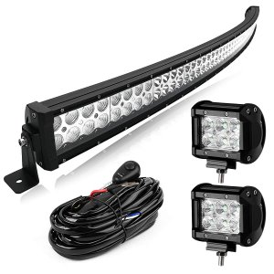 Yitamotor 300W 52inch Curved Light Bar +2PCS 18W Flood Light +Wiring
