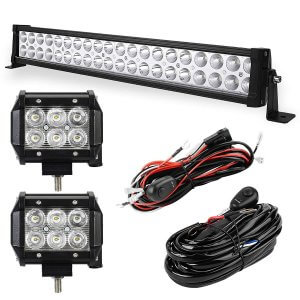 YITAMOTOR 24inch 120W Light Bar +2PCS 18W Spot Pod Lights with Wiring