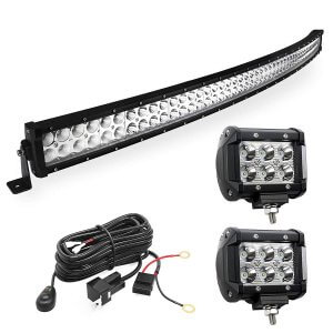 YITAMOTOR 288W Curved 50inch Light Bar +2x18W LED Pods +Wiring Harness