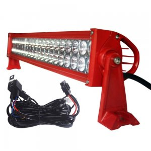 YITAMOTOR 120W Red 24inch LED Light Bar with Wiring Harness