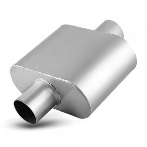 2.5 Inch Single Chamber Universal Race Stainless Steel Muffler, Single Inlet & Outlet