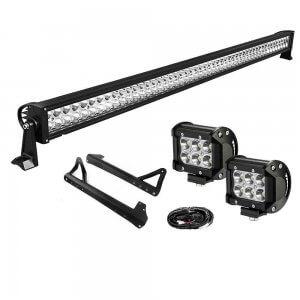 YITAMOTOR 50inch Light Bar +2x 18W Pods +Brackets +Wiring for Jeep JK Wrangler