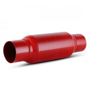 2.5 Inch Inlet Black Universal Exhaust Muffler Deep Sound, Powder Coated Red