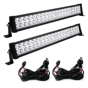 YITAMOTOR 2PCS 24 inch Light Bar with 2PCS Wiring Harness 120w LED