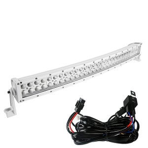 YITAMOTOR 32inch Curved White Light Bar 180W LED with Wiring Harness