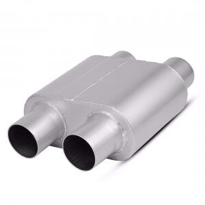 "2.5 Inch Inlet Black Universal Exhaust Muffler Deep Sound, 13"" Overall Length"